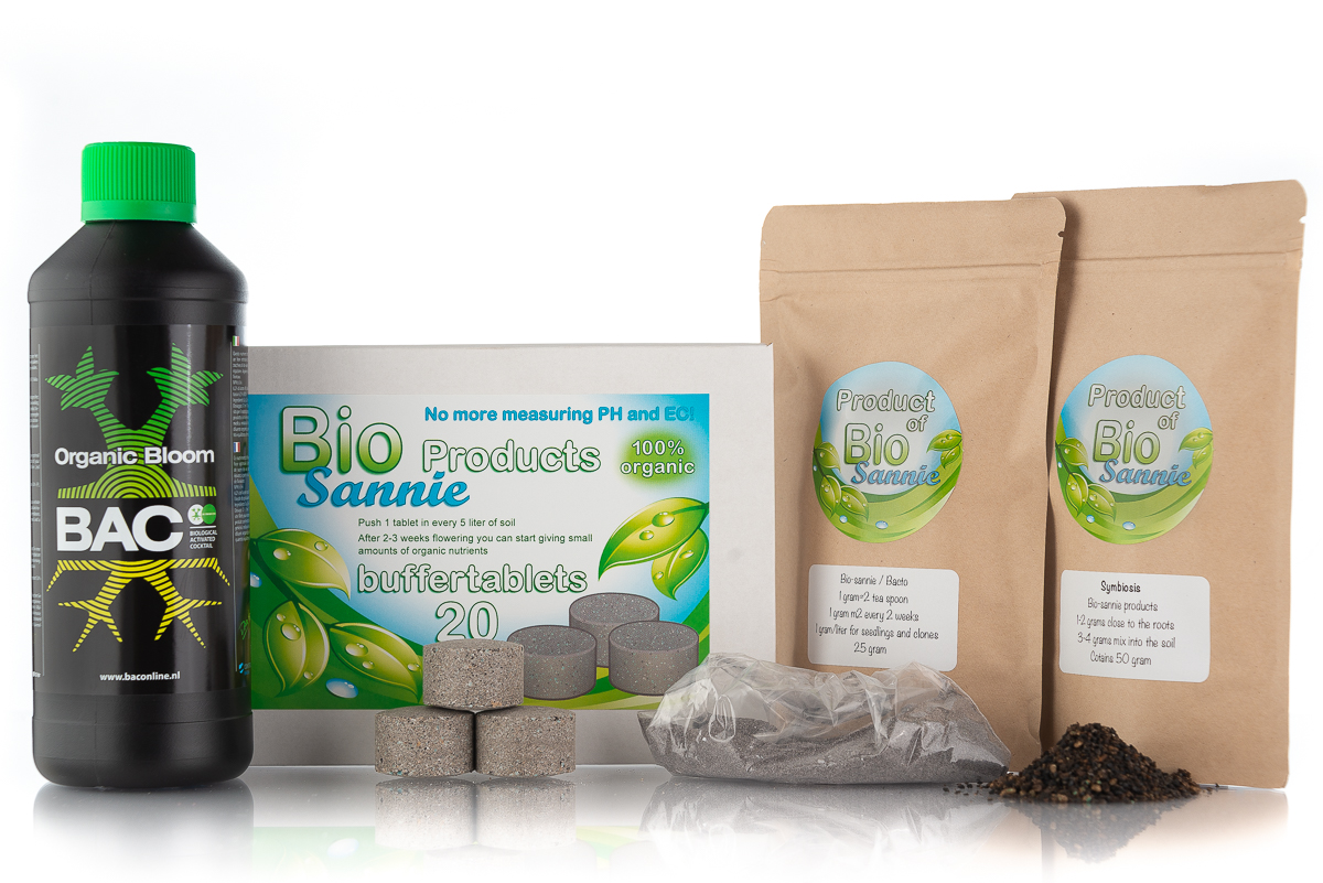 Bio-sannie  organic kit for starting your soil life and all the product you need for a complete cyclus of nutrients